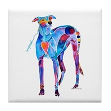 Greyhound with Heart Tile Coaster