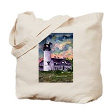 Chatham Cape Cod Lighthouse Painting Tote Bag