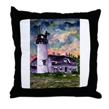 Chatham Cape Cod Lighthouse Painting Throw Pillow