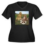 Two Trumpeter Pigeons Women's Plus Size V-Neck Dar