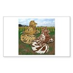 Two Trumpeter Pigeons Rectangle Sticker 10 pk)