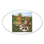 Two Trumpeter Pigeons Oval Sticker (50 pk)