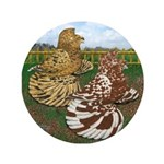 """Two Trumpeter Pigeons 3.5"""" Button (100 pack)"""