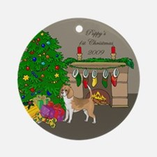 Beagle 1st Christmas Ornament (Round)