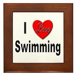 I Love Swimming Framed Tile