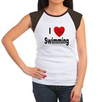 I Love Swimming (Front) Women's Cap Sleeve T-Shirt