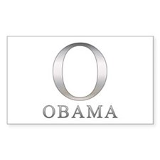 Silver Obama O Rectangle Decal
