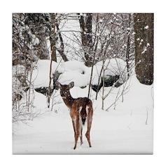 Deer in Winter Tile Coaster