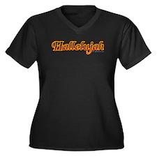 Hallelujah Women's Plus Size V-Neck Dark T-Shirt