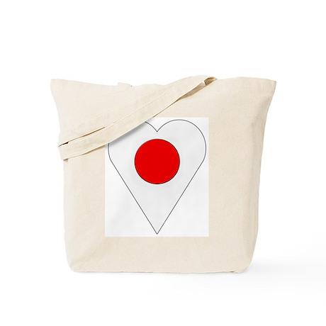 Japan Heart-Shaped Flag Tote Bag