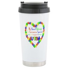 Autism Heart Ceramic Travel Mug