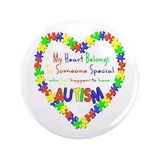 """Autism Heart 3.5"""" Button"""