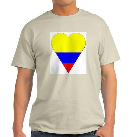 Colombia Heart-Shaped Flag Ash Grey T-Shirt