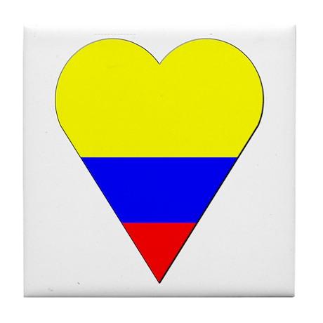 Colombia Heart-Shaped Flag Tile Coaster