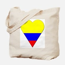 Colombia Heart-Shaped Flag Tote Bag