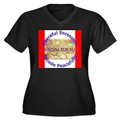 Montana-1 Women's Plus Size V-Neck Dark T-Shirt