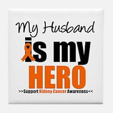 KidneyCancerHero Husband Tile Coaster