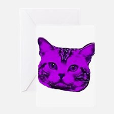 Purple Kitty Cat Greeting Card