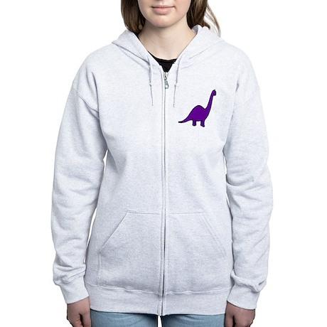 Cute Purple Dinosaur Women's Zip Hoodie