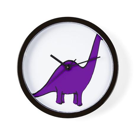 Cute Purple Dinosaur Wall Clock