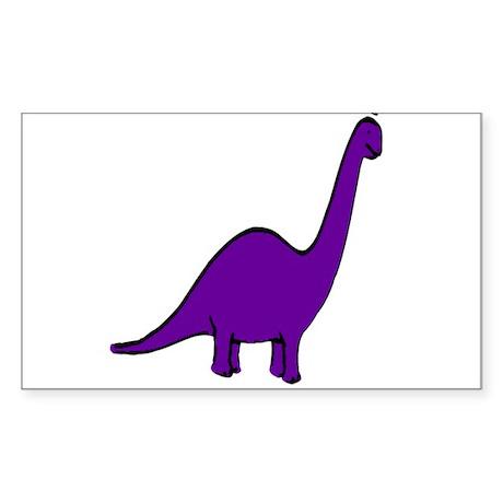 Cute Purple Dinosaur Rectangle Sticker