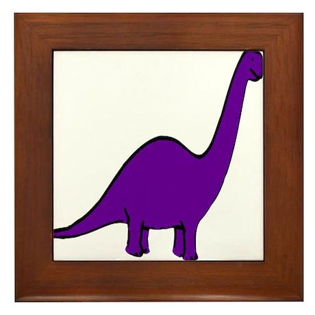 Cute Purple Dinosaur Framed Tile
