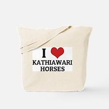 I Love Kathiawari Horses Tote Bag