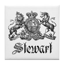 Stewart Vintage Crest Family Name Tile Coaster