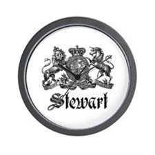 Stewart Vintage Crest Family Name Wall Clock