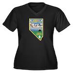 Pyramid Lake Women's Plus Size V-Neck Dark T-Shirt