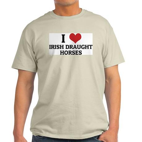 I Love Irish Draught Horses Ash Grey T-Shirt