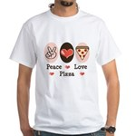 Peace Love Pizza White T-Shirt