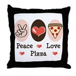 Peace Love Pizza Throw Pillow