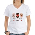 Peace Love Pizza Women's V-Neck T-Shirt