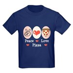 Peace Love Pizza Kids Dark T-Shirt