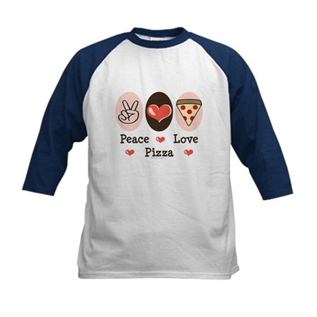 Peace Love Pizza Kids Baseball Jersey