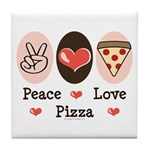 Peace Love Pizza Tile Coaster