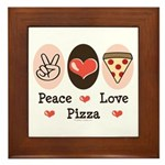 Peace Love Pizza Framed Tile