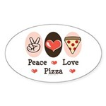 Peace Love Pizza Oval Sticker