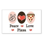 Peace Love Pizza Rectangle Sticker