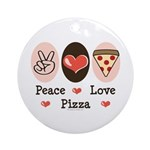 Peace Love Pizza Ornament (Round)