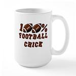 100% Football Chick Large Mug