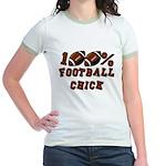 100% Football Chick Jr. Ringer T-Shirt