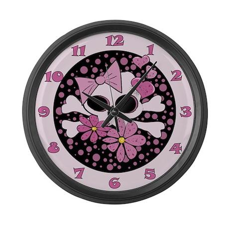 Girly Punk Skull Large Wall Clock