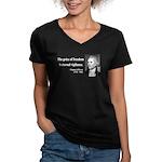 Thomas Jefferson 2 Women's V-Neck Dark T-Shirt