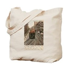 Vintage Chicago Elevated Railroad Tote Bag