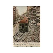 Vintage Chicago Elevated Railroad Rectangle Magnet