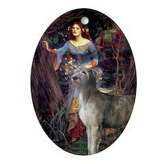 Irish Wolfhound & Ophelia Oval Ornament