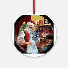 Santa's Irish Wolfhound Ornament (Round)