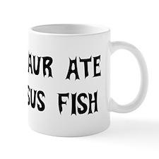 Dinosaur Eats Jesus Fish Mug